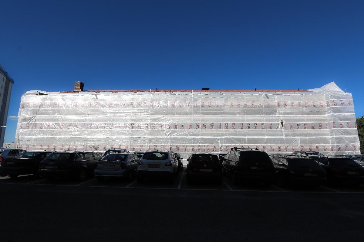 Fasadrenovering på Ellen Keys Gata i Stockholm Fruängen